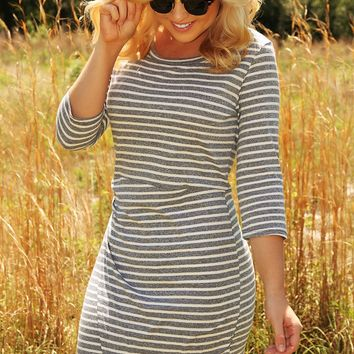 Stripe A Pose Dress: Gray/White - What's New - Hope's Boutique