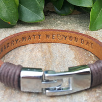 EXPRESS SHIPPING Personalized Hidden Message Leather Bracelet Mens Womens Jewelry Custom Secret Message His Hers Girlfriend Boyfriend Gift