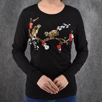 Most fashion 2016 Winter women's t-shirt Sequined Bird with Flower printed Long sleeve shirt women tee tops factory outlet