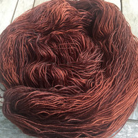 Hand Dyed Yarn - Copper - Superwash Bluefaced Leicester Wool - 4 ply Fingering Weight Yarn 100gr