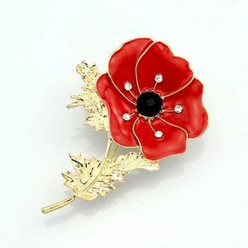 Leaf Flower Rhinestone Brooch - Red