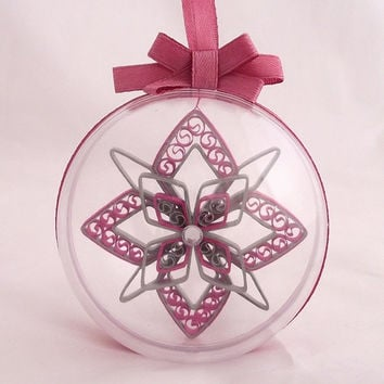 pink and silver christmas snowflake in a clear ball, snowflake embellishment, hanging snowflake,snowflake decoration, snowflake tree