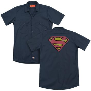 Superman - Distressed Shield (Back Print) Adult Work Shirt