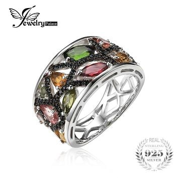 JewelryPalace Halloween 2.3ct Multicolor Genuine Tourmaline Black Spinel Cocktail Ring 925 Sterling Silver