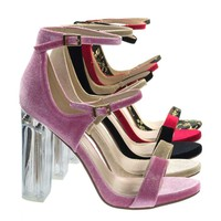Toodee Dk Pink Velvet Clear Perspex Chunky Block Heel, Floral Embroidered Stitch Sandal