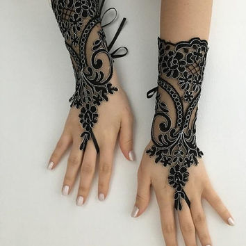 Black Silver Beaded Lace Gloves, Goth Wedding Steampunk, goth lace gloves, Bridal Gloves, Party Gloves, Handmade Lace Gloves,
