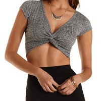 Black Combo Ribbed Wrap Crop Top by Charlotte Russe
