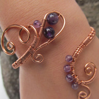 Purple Amethyst Copper Wire Bracelet- Violet Beaded Wire Wrapped Bangle Cuff- Healing Crystals & Handmade Jewelry