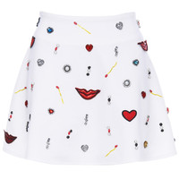 ROMWE | ROMWE Various Accessories Embellished White Skirt, The Latest Street Fashion