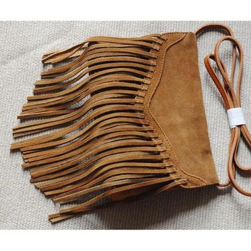 Genuine leather Fringe Crossbody Purse