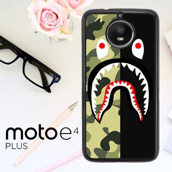 Half Camo Bape Shark Face Pattern L1951 Motorola Moto E4 Plus Case