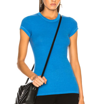 Enza Costa Rib Cap Sleeve Tee in Oslo Blue | FWRD