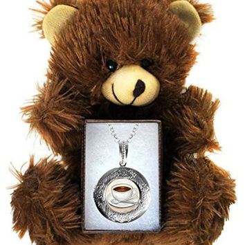 Coffee Cup Art Silver Locket Necklace & Brown Bear Gift Set