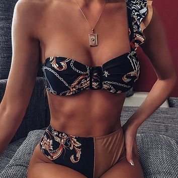 Vintage High Waist Swimwear Women One Shoulder Bikini Brazilian Swimsuit With Ruffles Push Up Bathing Suit Print Biquini