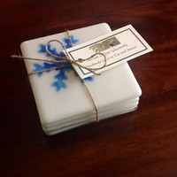 Fused Glass Coasters - Glass Coasters - SnowFlake Coasters