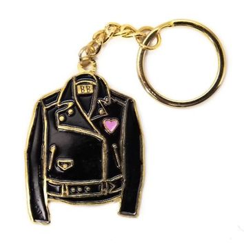 Black Leather Jacket Keychain