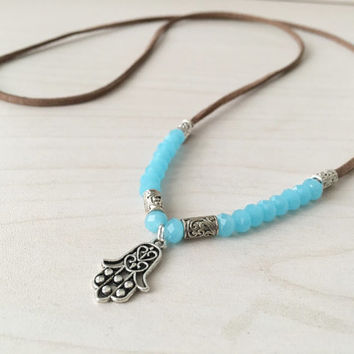 Hamsa necklace Long boho necklace Hamsa pendant Long bohemian necklace Blue necklace