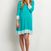 Jade-Lace-Trim-3/4-Sleeve-Maternity-Tunic/Dress