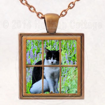 Cat in the Window - Butterfly Garden Background - Digital Art - Altered Art Pendant or Key Ring