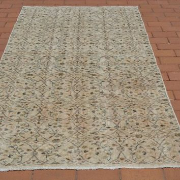 Vintage Rug Carpet, Floral Rug, Beige Baby Rug, Unique Rug, Pastel Rug, Nursery Rugs, Rectangle Rug, Crochet Doily Rug, 3.6x6.6 Ft AG658