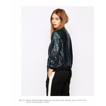 Bling Sequins Bomber Jacket