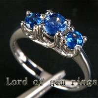 Round Blue Sapphires Engagement Ring 14K White gold  three stones 1.10ct