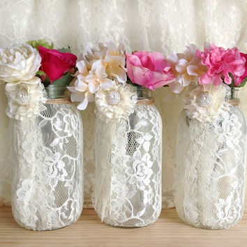 3 ivory lace covered ball mason jar half gallon vases, wedding decoration, engagement, anniversary or home
