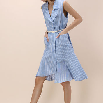 Lighthearted Striped Oversized Coat Dress in Sky Blue