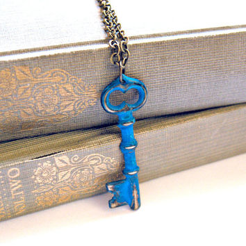 Bright Cerulean Blue Skeleton Key Necklace Hand by SovereignSea