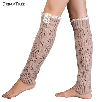 Dream Tree Womens Thigh High Boots High Quality Long Leg Flower Lace Socks Hollow For Women 2017 Winter Knitting With Button