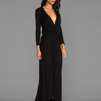 LA Made 3/4 Sleeve Surplus Jersey Maxi Dress in Black