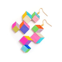 Rainbow Neon Leather Earrings, Color Block Cubes, Faceted Geometric Earrings