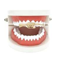 ac PEAPO2Q Yinian New Custom Fit Rifle Single Tooth Grillz Cap Top & Bottom Grill gold teeth caps grillz dental CC094