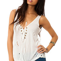The Rifle Lace Up Tank in White