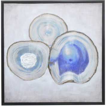 Three Hands Blue Agate Oil Painting Wall Art - Wall Art at Hayneedle