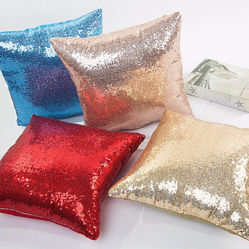 Solid Color Glitter Sequins Throw Pillow Case Home Decor decorative Cushion Covers capa de almofada car-covers quality first (Size: 40*40cm) [9695347663]