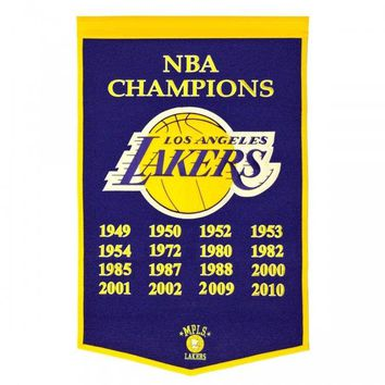 "Los Angeles Lakers Embroidered Wool Dynasty 24"" x 36"" Banner Pennant"