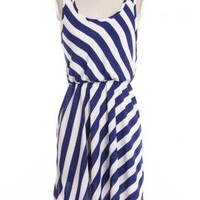 Home of Liberty Striped Sleeveless Dress in Royal Blue  | Sincerely Sweet Boutique