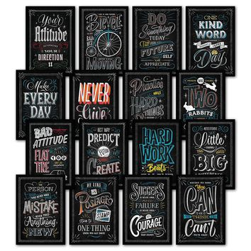 16 Inspirational Classroom Posters - Chalkboard Motivational Quotes for Students - Teacher Classroom Decorations 13 x 19