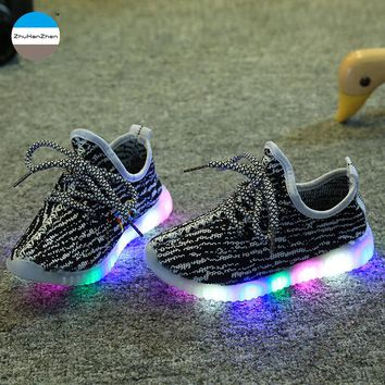 2017 1 to 12 years old baby boy and girl casual sport shoes high quality children running shoes glowing sneakers toddler shoes