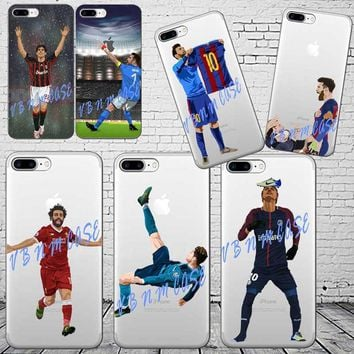 Barcelona Messi Soccer player Neymar ronaldo Mo Salah Phone Cases For iPhone 6 6S 7 8 PLUS 5S SE X XR XS XS MAX Soft TPU Cover