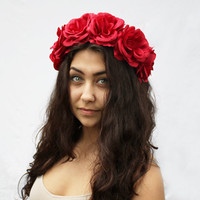 Rose Flower Crown - Red Rose Headband, 4th of July, Floral Crown, Summer Fashion, Frida Kahlo, Rose Crown. Dia De Los Muertos, July 4th