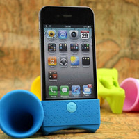 Silicone Horn Loudly Sounds Amplifier Loudspeaker Stand Case Holder For iPhone 4 4S 5 5S