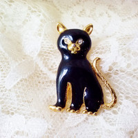 New Goldtone Black Cat Brooch Vintage Sitting Kitty Crystal Rhinestone Eyes NIB MINT Costume Jewelry Cat Lovers Animal Figure Pin Girt Box