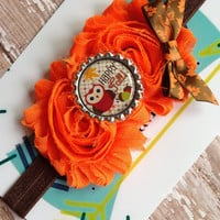 Happy fall owl stretch headband~great photo prop!