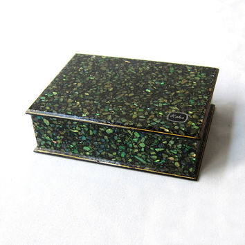 Retro vintage New Zealand Paua shell in lucite resin trinket box