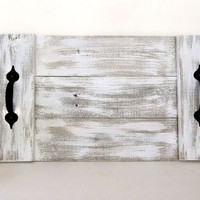 Distressed White Pallet Wood Tray Reclaimed wood Weathered Rustic Beach Coastal Decor Nautical serving breakfast tray TV coffee table Tray