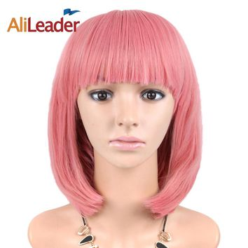 AliLeader Straight Short Bob Wig For Women Cosplay 31 Colors Pink Yellow Black Red Purple Ombre Cosplay Wigs Synthetic Hair