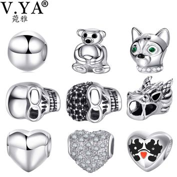 V YA DIY Beads fit for Pandora Bracelet Necklaces Women Men Christmas' Gifts Fashion Charms Lose Bead for Children