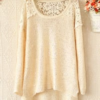 Fanewant — ROUND COLLAR HOLLOW-OUT CROCHET STITCHING SEQUINS SWEATER